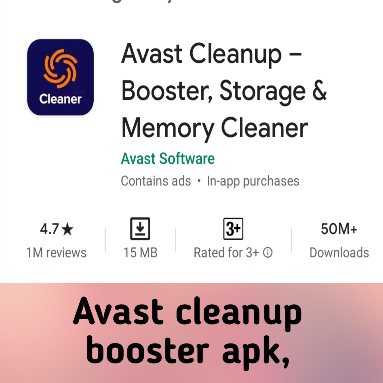 Avast cleanup booster apk,